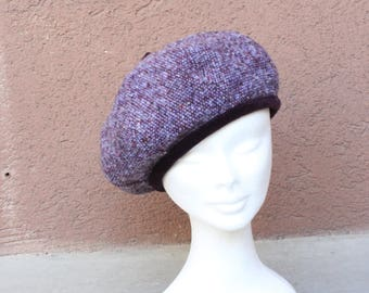 Vintage purple beret with velvet trimming - 90's Wool French Beret