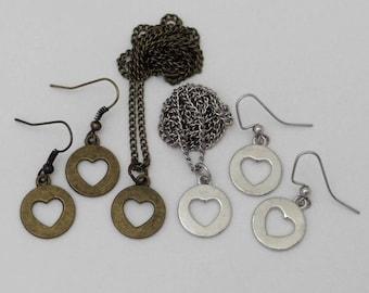 Hearts Earrings Pendant Necklace