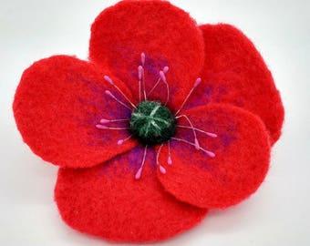 Red poppy brooch | Badge | Pin | Needlefelt flower | Gift for gardener | Floral jewellery | Large colourful brooch | Felt brooch | Poppy pin