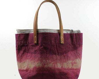 Large Waxed Cotton Canvas Tote Bag w/Liner - Pink - Leather Handles
