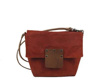 Small Waxed Canvas Crossbody - Orange - Leather Strap