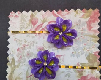 Purple/Yellow Flower Hairpins