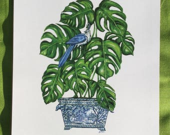 Chinoiserie plant in blue and white china print
