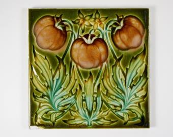 Antique 1900s English Art Nouveau Henry Richards Tile Co. Ltd tomato  pottery tile. No1.