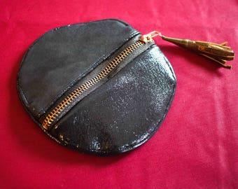 Iridescent black round leather purse