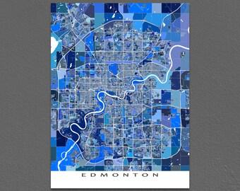 Edmonton Map Print, Edmonton Canada, Alberta City Maps