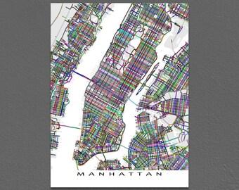 Manhattan Art Print, New York City Map, Manhattan Map, NYC, Central Park