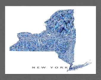 New York Map Print, New York State Art, NY Wall Decor