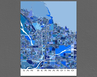 San Bernardino Map Print, San Bernardino California, City Art Maps