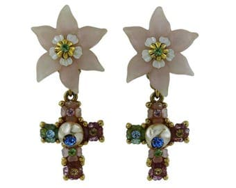 CHRISTIAN LACROIX * Vintage Jewelled Flower Cross Dangling Earrings
