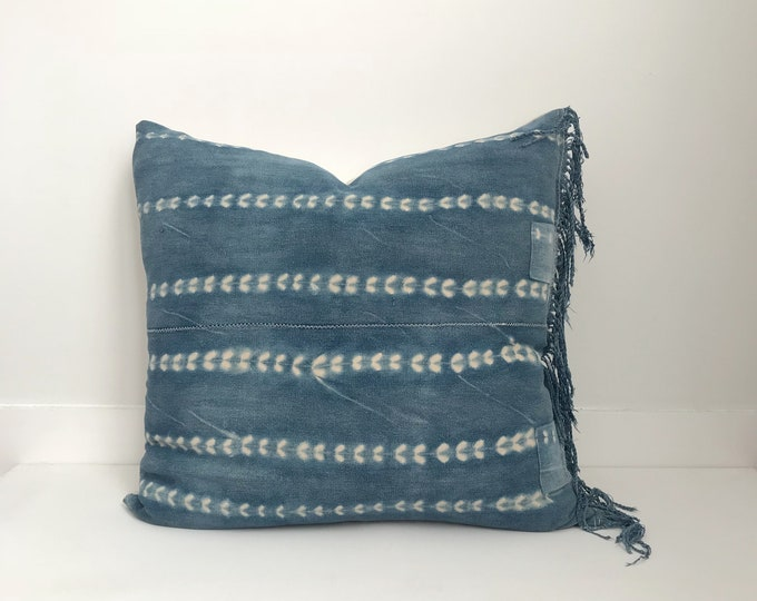 African Indigo Pillow Cover, Ethnic, Vintage, Blue, Boho Pillow, Patches, Fringe