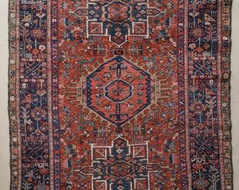 "CLEARANCE SALE ! Vintage Persian Rug // Karaja Heriz W/ Medallions // 4'8"" x 6'4"" // Free Shipping"