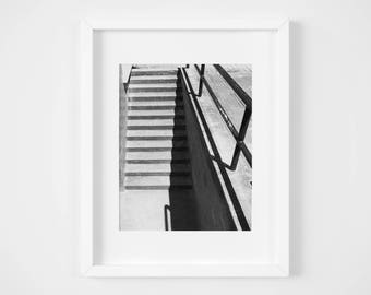 Steps and Shadow Black and White Photographic Print - Instant Download