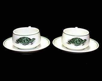 Vintage turtle cups-old turtle cups and saucers-turtle tea cup-turtle china set-hutschenreuther germany china-old german china-beach house