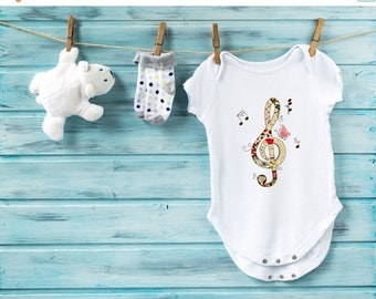 10% OFF SALE Musical bodysuit,  cute baby clothes, orchestra bodysuit, cute baby clothes, music baby bodysuit, note bodysuit, baby girl, bab