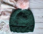 handknit winter hat, bulky woolen hat, emerald green beanie with faux fur pompom