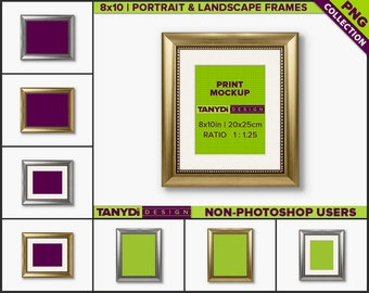 8x10 Gold & Silver Frame | 8 PNG White Wall Scenes 810CW6 | Portrait and Landscape Frames