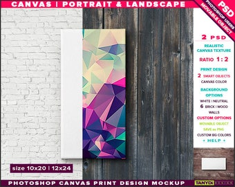 10x20 12x24 Canvas on Wall | Photoshop Print Mockup | Movable Unframed Portrait Landscape | Bricks Wood | Smart object Custom colors
