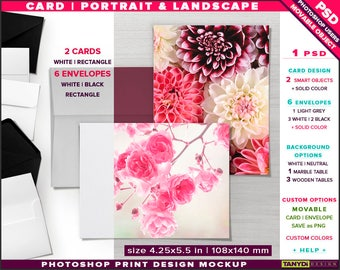 Greeting Card 4.25x5.5 | Photoshop Desktop Print Mockup | Portrait Landscape Card & 6 Envelopes on Wooden Table | Smart object Custom colors