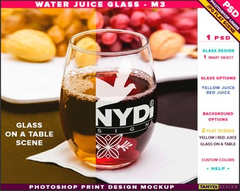 Glass Water Juice M-3 | Yellow & Red Juice | Photoshop Print Mockup | Tumbler and Napkin on a Wooden Table | Smart object Custom colors