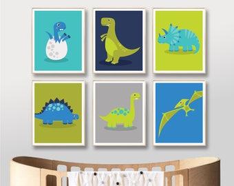 Dinosaur Printable Digital Art, Tyrannosaurus T Rex Printables Nursery Print Art Poster, Baby Boy Stegosaurus Triceratops / INSTANT DOWNLOAD