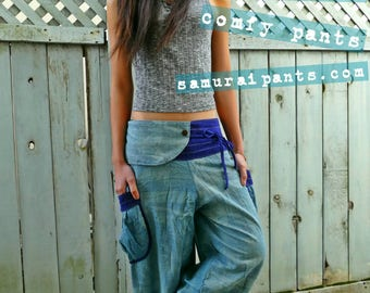 Vintage blue bamboo leaves Comfy Pants (Unisex)