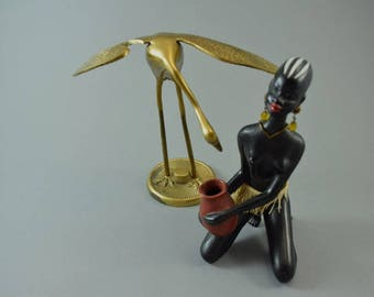 Vintage brass crane bird sculptur figurine, Mid Century Design, popular design object of the 60s