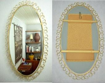 Large Oval Mid Century mirror / wall mirror / hall mirror | 50s  | Germany