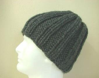 Hand knit mens hat dark gray adult medium, warm comfortable winter hat knit in round thick alpaca acrylic gray men, women chunky knit hat