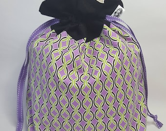 "Medium Lined DRAWSTRING Bag,PATTERN, #88, 13""x8""x4"", project bag, storage bag"