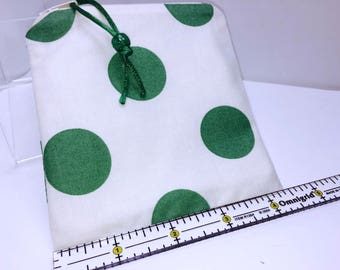 Green Polka Dot Wet Bag, Quick Dry Design, Zipper Wet Bag, Reusable Feminine Products, Reusable Bag, Makeup Pouch, Waterproof Pouch, PUL