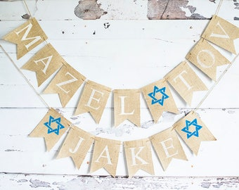 Mazel Tov Banner, Jewish Decoration, Mazel Tov Party Sign, Congratulations Garland, Baby Shower, Bar Mitzvah, Bat Mitzvah, B569