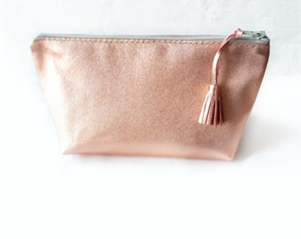 Leather Cosmetic Bag Makeup Bag Rose gold Leather Pouch For Woman Gift Idea Leather Bag
