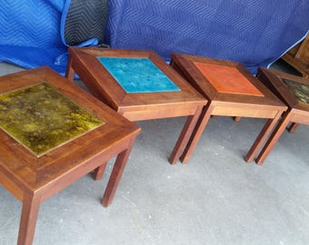 Vintage 1960's John Keal Solid Walnut Side Tables For Brown Saltman Mid Century Modern Copper Enamel Inlays Original Finish California MCM