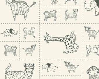 SALE!! 1 Panel Critters Galore Animal Panel Savannah by Gingiber for Moda- 6 Different Animals- 48221-21 Charcoal