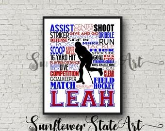 Personalized Field Hockey Gift, Field Hockey Poster, Field Hockey Typography, Gift for Field Hockey Team, Field Hockey Player Gift