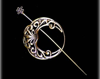 Celtic Shawl Pin Penannular Brass Mimimalistic Brooch Vintage Hammered Minimalist  Cloak Style Scarf Pin Outlander Stick Pin
