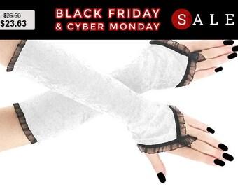 Fingerless gloves white black long, velvet arm warmers gothic burlesque vintage bohemian, womens evening gloves, goth wedding lolita 15R
