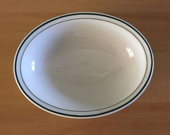 Sweet Syracuse China oval serving / vegetable bowl heavy white ceramic with double forest green rim for tropical Old Florida home!