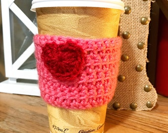 Pink Valentine Reusable Crochet Coffee Sleeve