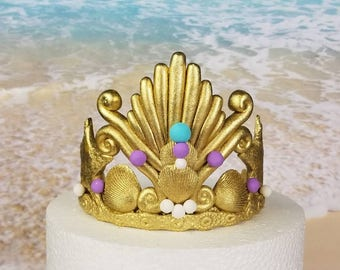 """Gold Fondant Mermaid Tiara Cake Topper- 4"""" (MADE TO ORDER)"""