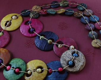 Colored Painted wood necklace