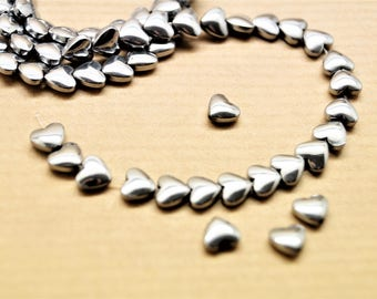 Set of 20 silver hearts hematite hearts, 6 * 6 mm