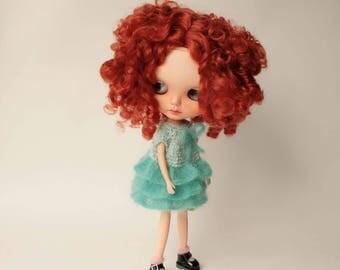 Blythe dress, Mint mohair acrylic dress for Blythe doll fromVolnaDollsClother, Hand knitted doll clothes, Cozy fluffy dress for Blythe doll
