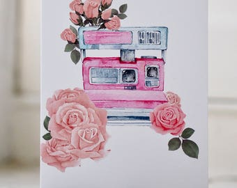 Polaroid Camera Rose Floral Greetings Card