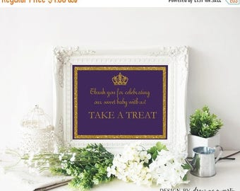 Clearance Sale Prince Baby Shower , Dessert Table Sign , Please Take A Treat Sign , Purple And Gold Baby Shower , Printable ,