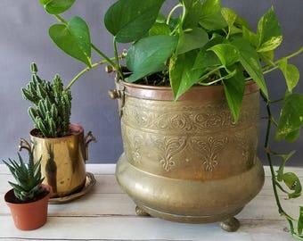 Large Brass Planter/ Large Brass Cauldron/ Large Hanging Planter/ Brass Planter/ Footed Planter/ Hanging Planter/ Indoor Planter/ Succulent