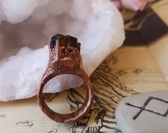 triple terminated dravite copper ring size 7 - electroformed jewelry - copper ring - molten copper- crystal ring  - brown tourmaline