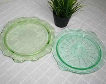 2 Green Depression Glass Cake Plates, Serving Stands.