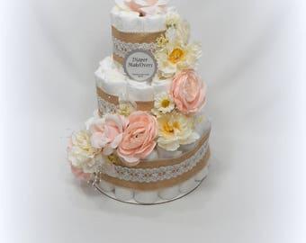 Floral Diaper Cake - Pink Diaper Cake - Baby Shower Centerpiece - Girl Diaper Cake - Flower Diaper Cake
